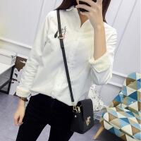 春装新款韩版小清新印花polo衫纯棉长袖打底衬衫女加绒白色衬衣女 加绒