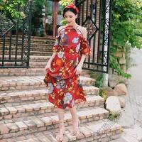 夏季连衣裙波西米亚度假沙滩裙一字荷叶领短袖印花长裙 红色