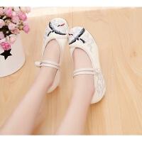 2019春夏新款中国风文艺复古中式汉服女仙鹤绣花鞋坡跟中国风布鞋