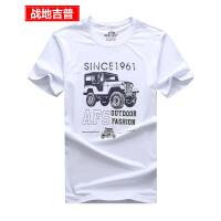 战地吉普夏装短袖T恤男 男士圆领纯棉针织半袖t恤户外运动印花汗衫