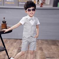 儿童晚礼服夏季套装英伦燕尾小花童婚礼西装钢琴主持人演出男童装 浅灰色 衬衫马甲裤子领结