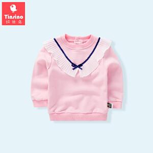【1件3折价:35.7】纤丝鸟(TINSINO)女童套头卫衣儿童花边上衣宝宝外套