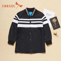 【1件2折后:35.8元】红蜻蜓童装冬季新款条纹拼接经典搭扣时尚男女童儿童风衣外套