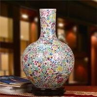 景德镇陶瓷器 高档仿古粉彩精品全手绘艺术瓷厂白底万花天球花瓶