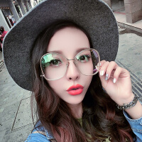 眼镜女圆球装饰镜大框透明平面镜素颜显脸小平光镜女潮流