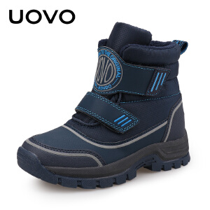 UOVO童鞋冬季男童儿童靴子马丁靴中大童保暖棉靴子秋冬季新款 亚丁