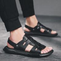 头层牛皮凉鞋男真皮越南沙滩鞋2019夏季新款室外韩版潮流个性拖鞋 黑色