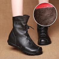 秋冬原创手工褶皱单靴棉靴女靴头层牛皮舒适骑士靴软底短靴