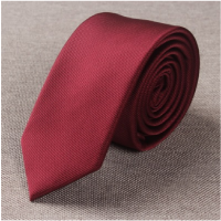 2018年新品窄版领带男韩版休闲纯色6CM结婚礼新郎小细英伦职业窄款紫红黑蓝白