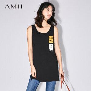 【大牌清仓 5折起】Amii[极简主义]夏装新款女大码时尚印花弹力开衩背心11781732
