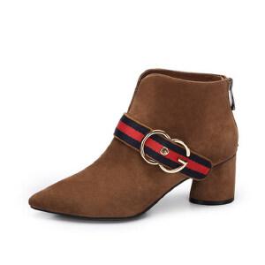 camel 骆驼女鞋 秋冬新款 英伦风高跟尖头短筒靴单靴复古粗跟女靴子