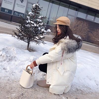 谜秀女中长款2017秋冬装新款韩国宽松大毛领加厚过膝外套冬潮连帽中长款