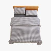 当当优品家纺 纯棉日式色织水洗棉床品 1.5米床 床笠四件套 格子烟墨