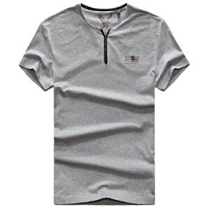 1853夏装新款战地吉普AFSJEEP纯棉弹力半袖T恤衫圆领男士短袖polo