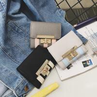 新款女式零钱包拧锁撞色短款钱夹荔枝纹PU三折迷你小钱包