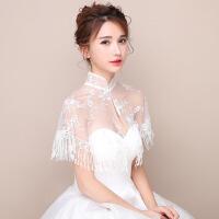 茉蒂菲莉 蕾丝网纱披肩 新款欧美夏季薄款新娘结婚礼服婚纱旗袍立领蕾丝网纱披肩