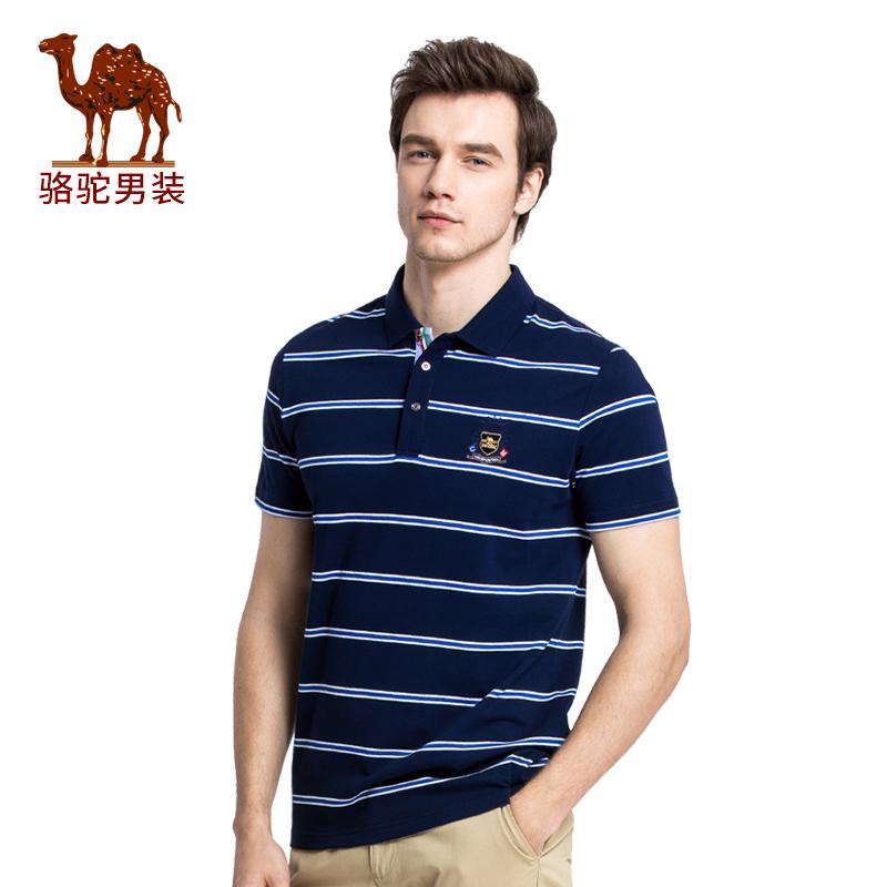 夏季新款骆驼男装时尚翻领条纹POLO衫商务休闲短袖T恤衫男