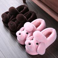 儿童棉拖鞋女童冬季室内防滑厚底居家卡通中小童包跟毛毛拖鞋男童