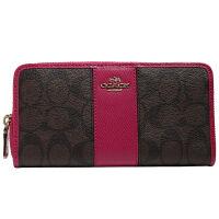 【9.9新】COACH 女款卡其配玫红色长款钱包