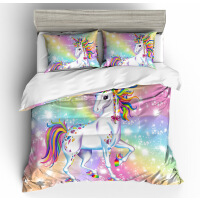 彩虹色独角兽四件套床上用品三件套床品 US King Duvet Cover 25