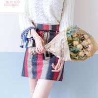 2017秋冬装新款韩版毛呢包臀短裙高腰显瘦条纹半身裙