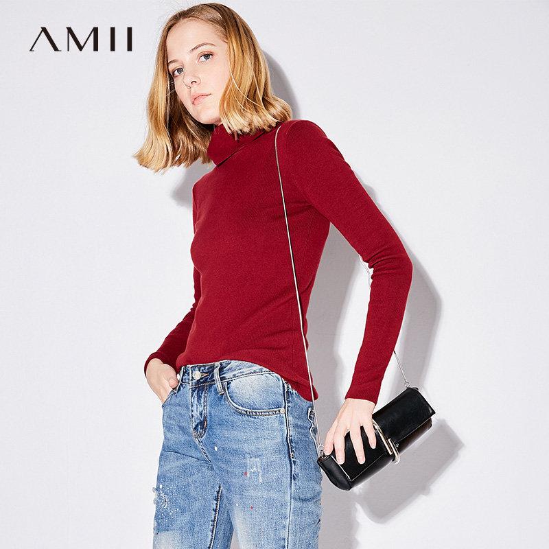 【大牌清仓 5折起】Amii[极简主义]2017秋新品简约纯色高领毛衣11774538