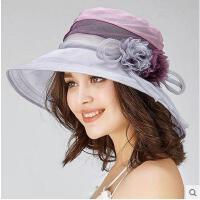 夏季真丝可折叠遮阳帽女户外花朵防晒抗紫外线太阳帽