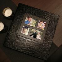 家庭大本相册洗照片影集宝宝插页式6寸皮质复古情侣相薄 黑色