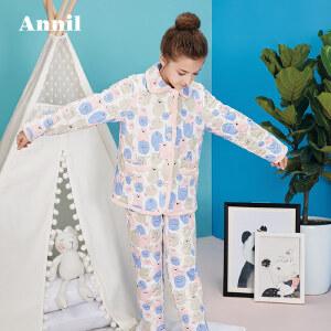 安奈儿童装儿童睡衣男女童家居服秋冬新款套装JM747603
