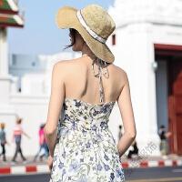 2018夏季连衣裙波西米亚度假沙滩裙挂脖长裙仙女裙 图片色