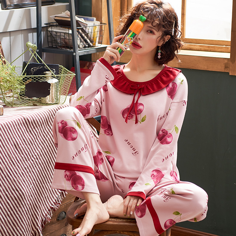 南极人家居服女纯棉休闲吸湿透气柔软舒适时尚长袖套装5425