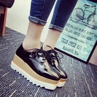 厚底松糕小皮鞋英伦复古学院风方头系带坡跟单鞋女增高休闲低帮鞋
