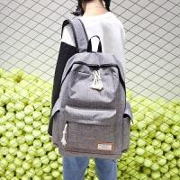 学生书包女生初中生双肩包韩版帆布背包大容量男士旅行包时尚潮流 卡其色