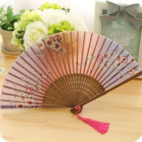 创意日式礼物樱花风真丝竹木古风小折扇女士可爱古典折叠扇子