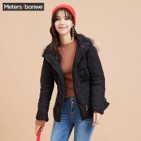 【618返场购,每满200减100】美特斯邦威羽绒服女冬装短款保暖修身纯色户外休闲外套韩版潮