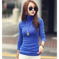 新款大码女装长袖T恤 修身高领上衣外穿女 韩版加绒加厚打底衫