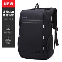 2018新款PICANO商务背包双肩电脑包寸多功能公文通勤防盗充电书包男 黑色