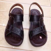 男士凉鞋特大码44 45 46 47真皮舒适沙滩鞋休闲柔软男式凉鞋中老年爸爸鞋