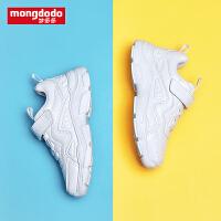 mongdodo梦多多童鞋儿童运动鞋秋季2019新款简约百搭小白鞋休闲鞋