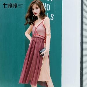 七格格吊带v领连衣裙秋装女新款气质网纱绑带外穿中长款裙子