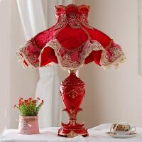 欧式喜庆红色结婚台灯婚房床头灯新婚庆用礼物陪嫁卧室创意长明灯 红色