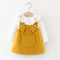 2018新款女童春装套装0-1-2-3-4岁韩版女宝宝背带裙2件套儿童衣服 黄色 大耳朵2件套