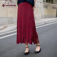 生活在左2019春季新款时尚镂空半身裙长裙文艺休闲纯色百搭通勤女