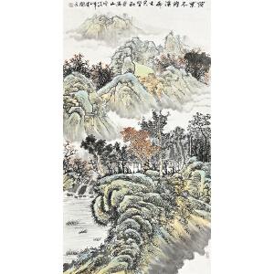 黄开元落叶尽随溪雨去 只留秋色满山空gs01213