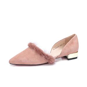 Camel/骆驼女鞋 2018春季新款 性感尖头低跟单鞋甜美貂毛方跟鞋女