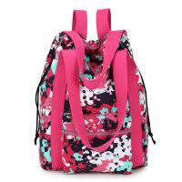 双肩包女帆布包时尚大容量多功能手提旅游旅行包两用包包妈咪背包 五彩红 手提双肩布