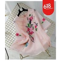 魅儿 2018夏季新款女装宽松a字短款旗袍上衣欧根纱外套GH174