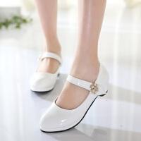 潮2017春秋韩版时尚淑女皮鞋单鞋 演出女新款中大童鞋