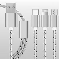 BaaN Type-C/安卓/苹果手机三合一快充数据线编织充电线 iPhone6s/7p小米5s乐视2华为p10数据线