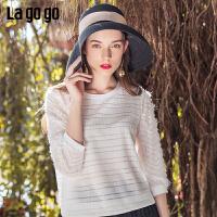 【5折价122】Lagogo2019年春季新款早春七分袖白色雪纺短袖T恤IATT452A03